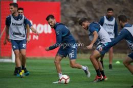 Sesión de recuperación tras la derrota ante el Almería