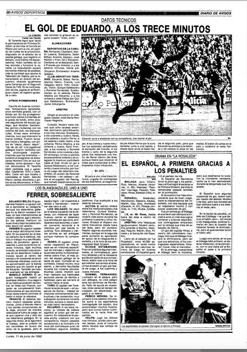 Eduardo Ramos corre a abrazarse con sus compañeros tras marcar el gol del Tenerife en Riazor (Diario de Avisos).