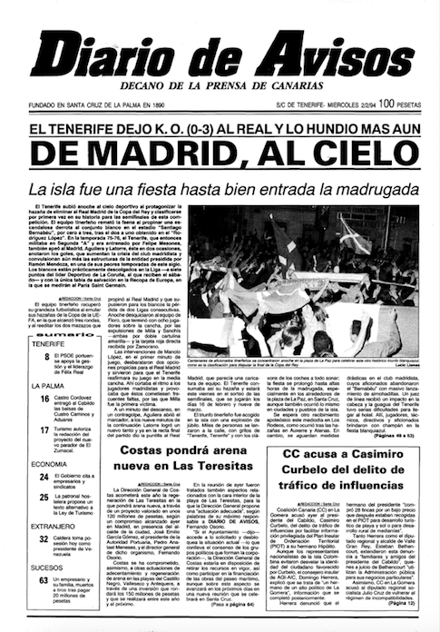 Portada del Diario de Avisos tras la victoria del CD Tenerife en el Santiago Bernabéu ante el Real Madrid (Diario de Avisos).